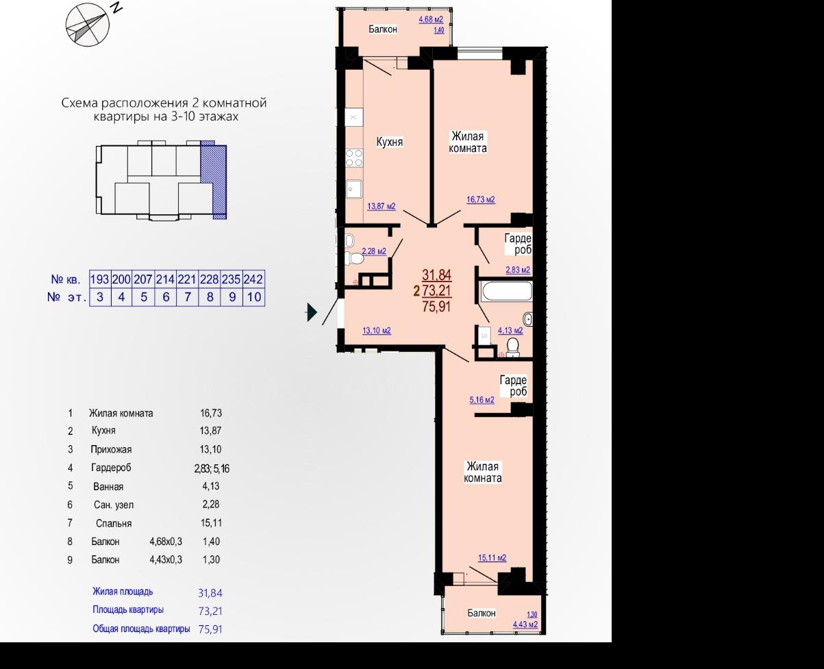Продам двухкомнатную квартиру в ЖК Меридиан NV 2